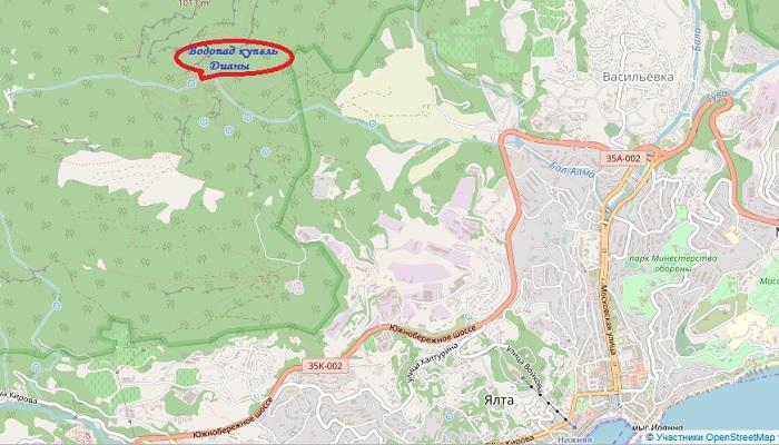 Водопад купель Дианы на карте