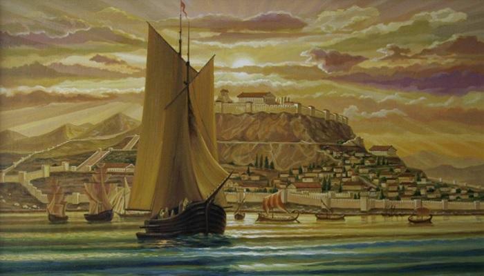 Город Пантикапей на берегу Керченского пролива