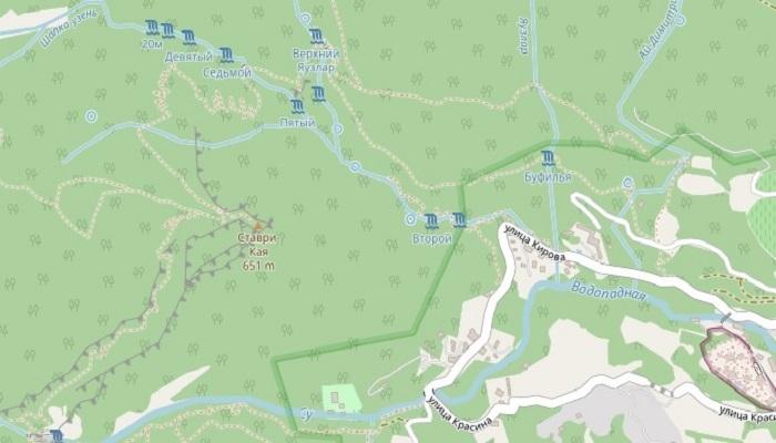 Карта водопадов на реке Яузлар